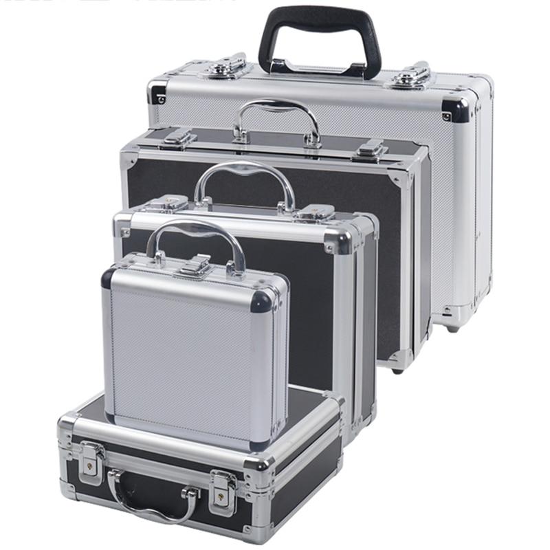 Portable Aluminium Alat Kotak Peralatan Safety Toolbox Alat Kotak Penyimpanan Koper Tahan Benturan Case dengan Spons