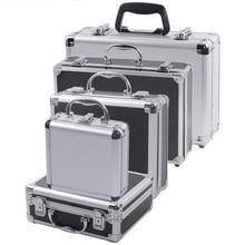 Przenośna aluminiowa skrzynka narzędziowa wyposażenie ochronne skrzynka narzędziowa obudowa na urządzenie futerał do przechowywania walizka odporna na uderzenia obudowa z gąbką