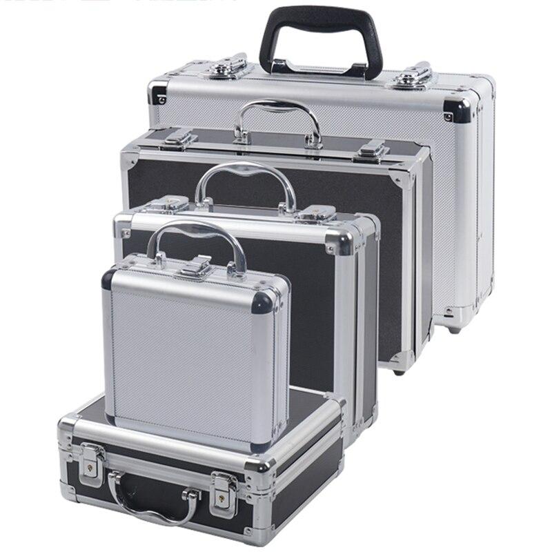 Tragbare Aluminium Werkzeug Box Sicherheit ausrüstung Toolbox Instrument box Lagerung Fall Koffer Auswirkungen Beständig Fall Mit Schwamm