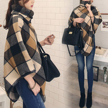 High Neck Women Blends Plaid Cloak Female Wool Autumn Winter Oversize Pullovers Turtleneck Blends Patchwork Korean Style Cloth cheap COTTON REGULAR Wool Blend Asymmetric Length Casual Dovetail PATTERN Horn Button Batwing Sleeve Women coats cloak clothes