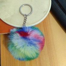 Новинка цветной круглый брелок fuyier с помпоном в виде кролика