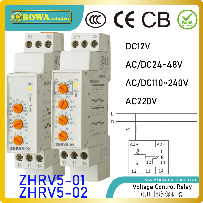 ZHRV5-01/02 voltage control relay protects single phase or DC electrical equipments from abnormal power supply to avoid damage