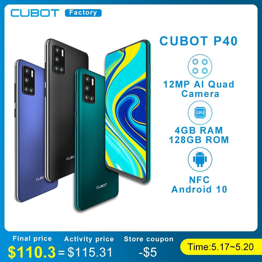 CUBOT – Smartphone P40, avec caméra Selfie 20mp, batterie 4200, 128 go, 6.2 pouces, Android 10, NFC