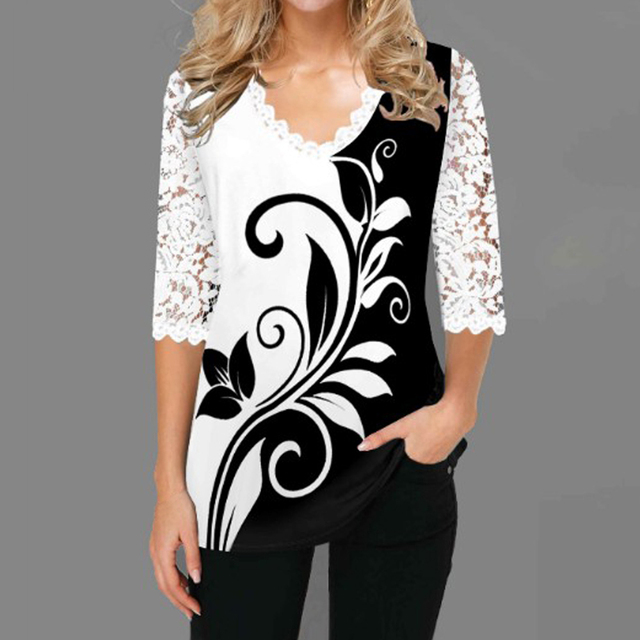 Women Blouse Plus Size Boho Shirt 2020 Autumn Butterfly Print Lace Splice Shirts Ladies V-neck Casual Shirt Pullovers Femme Tops 1