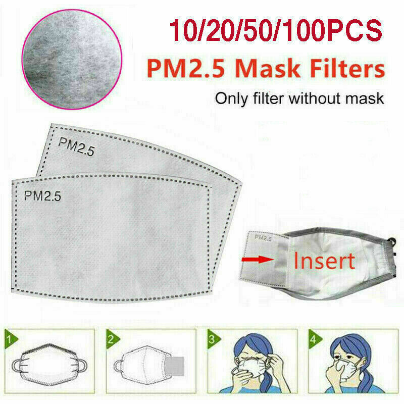 10-100Pcs PM2.5 Filter Insert 5 Layer Filter Activated Carbon Filters Pads  Anti Haze Mouth Mask Non-woven  Filter Paper