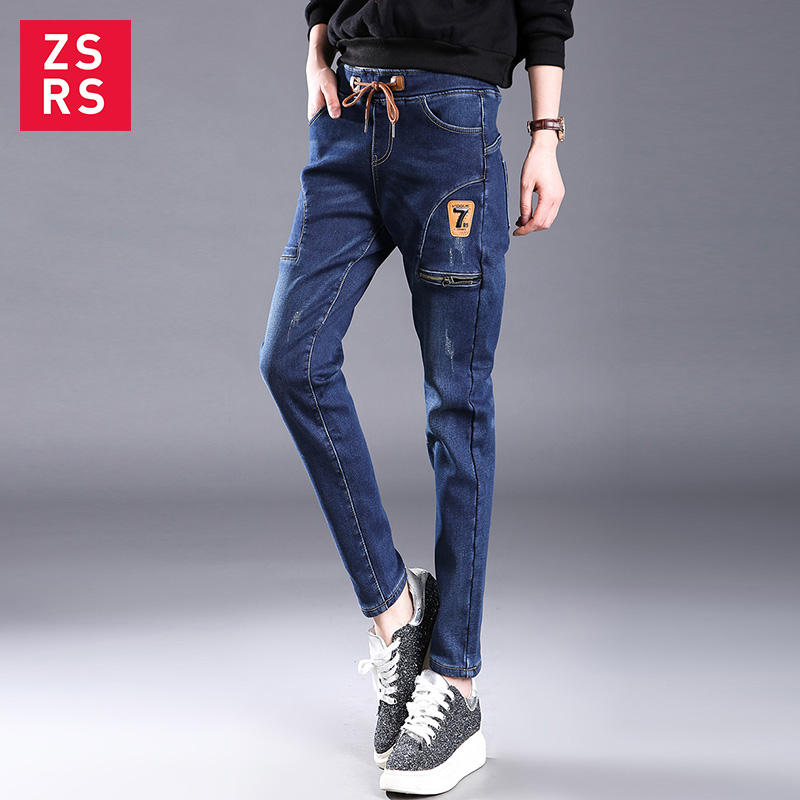 Zsrs 2019 Big Pocket Jeans High Waist Denim Pants Fleece Scratch Jeggings Casual Plus Size Jeans For Women Warm Jeans Mom Jeans