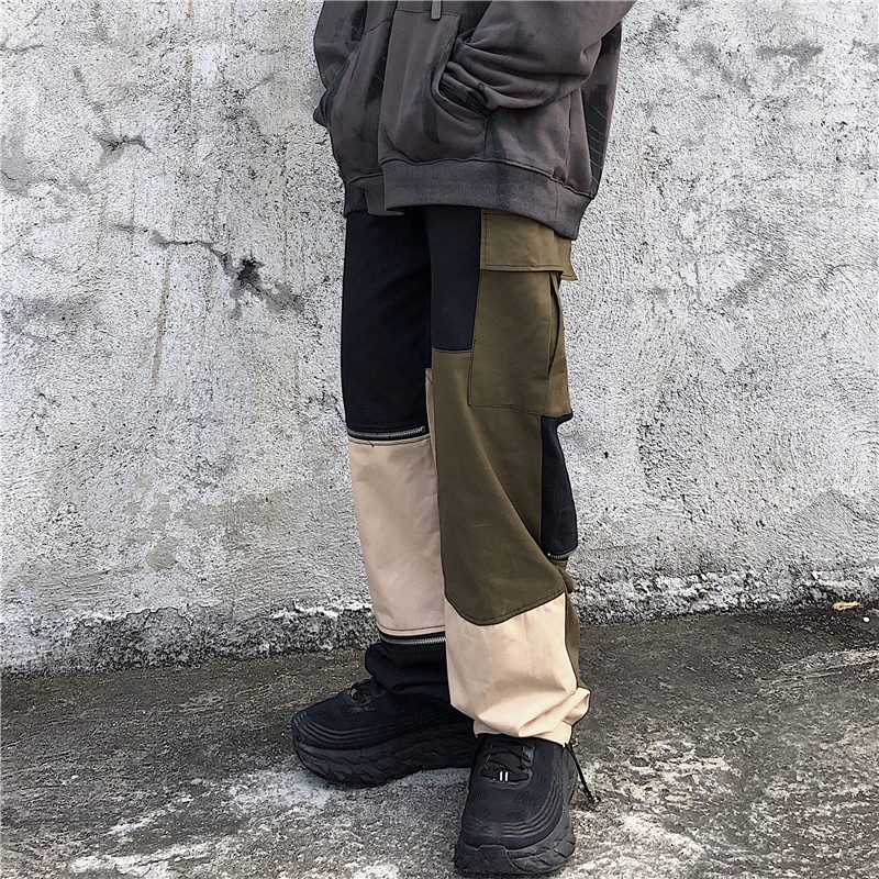 Focal20 Streetwear Solid Zipper Women Pants Casual Loose Elastic Waist Straight Leg Female Trousers Spring Autumn Lady Bottoms 1