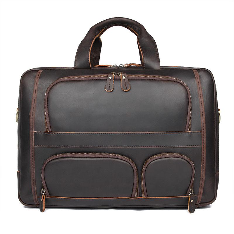 Men Leather Briefcase Real Leather Laptop Bag Vintage Large Handbag Male Business Bag 7289R-1Y