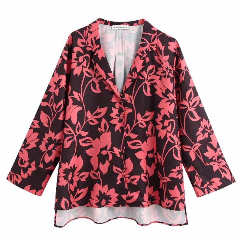 Women Turn Down Collar Flower Print Casual Smock Blouse Ladies Homewear Chic Kimono Style Chemise Femininas Shirts Tops LS6400