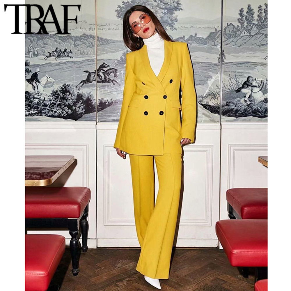 TRAF Women Coat Vintage Stylish Office Lady Double Breasted Blazer Fashion Long Sleeve Workwear Outerwear Casual Chaqueta Mujer