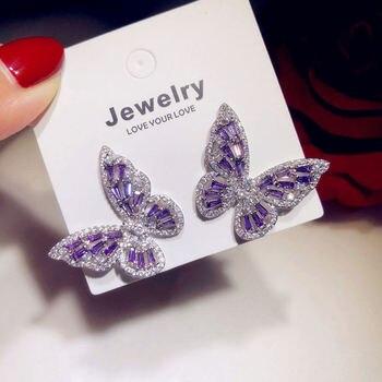 цена на Shiny Side Fashion Accessories Crystal Butterfly Stud Earrings for Women Gift Elegant Zirconia Earrings