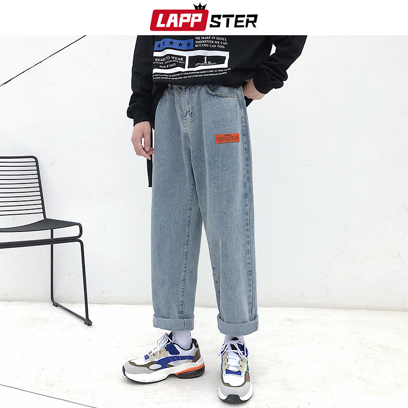 LAPPSTER Mens Korean Fashoins Harem Blue Jeans Pants 2019 Vintage Straight Pants Harajuku Jeans Baggy Belt High Quality Denim