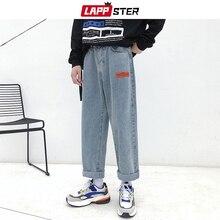 LAPPSTER Mens Korean Fashoins Harem Blue Jeans Pants 2019 Vintage Straight Pants