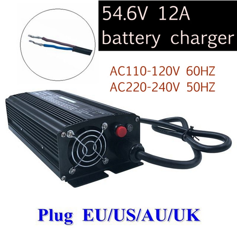672W 54.6V 12A lithium battery charger for high quality 13S 48V lithium ion electric bike charger with strong heat dissipation