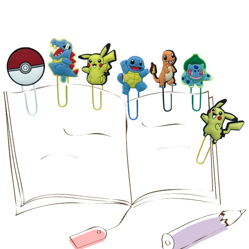 25pcs Anime Bookmarks For Kids Paper Clips For Teacher Students Office School Stationery Cute Pikachu Page Holder Xmas Gift
