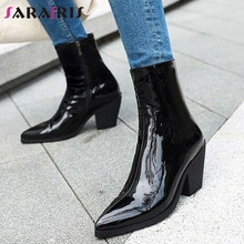 SARAIRIS New Plus Size 31 46 Black Patent Pu Booties Ladies Fashion Ankle Chelsea Boots Women 2020 High Heels Shoes Woman