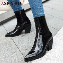 Sarairis Nieuwe Plus Size 31 46 Black Patent Pu Booties Dames Mode Enkel Chelsea Laarzen Vrouwen 2020 Hoge Hakken schoenen Vrouw
