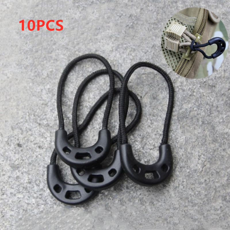 10PCs EDC Multi Purpose Zipper Rope Black Camping Hiking Anti-theft Zipper Longer Tail Rope Bags Clip Buckle Outdoor Travel Kit