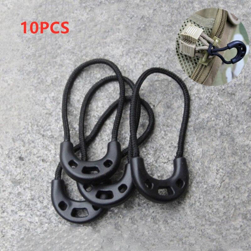 10PCs EDC Multi Purpose Zipper Rope Black Camping Hiking Anti-theft Zipper Longer Tail Rope Bags Clip Buckle Outdoor Travel Kit