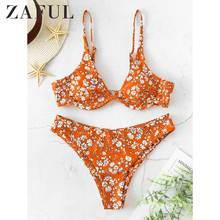 ZAFUL 2020 Women Tiny Floral Underwire Cami Bikini Swimsuit Push Up Spaghetti Straps Bikini Sets Padded Two Pieces Swimwear Sexy zaful bikini new padded spaghetti straps bikini set cami string bralette bathing suit swimwear brazilian swimsuit women biquni