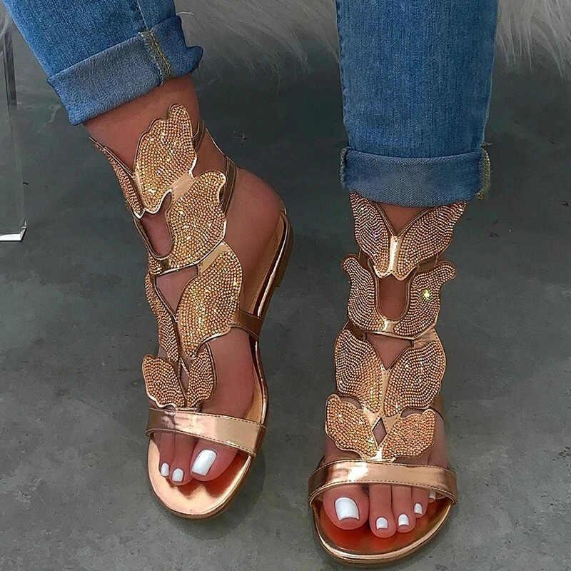 2020 kobieta kryształ płaski sandały damskie z wystającym palcem motyl klamra buty kobieta komfort dorywczo modne sandały kobiece lato