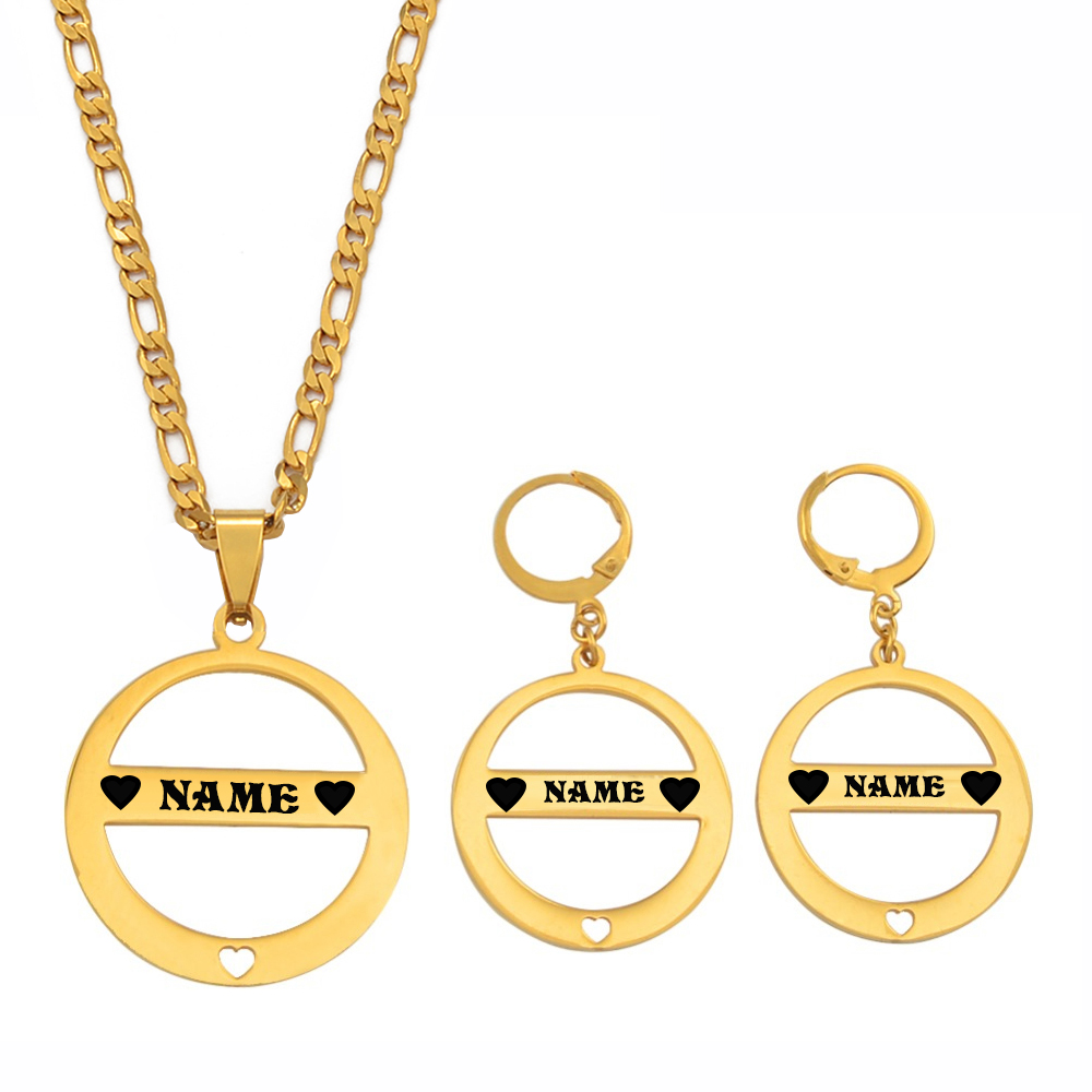 Anniyo Customize Name With Black Ink Pendant Necklace Earrings Sets Stainless Steel Letter Jewelry Personalized Letters #056821
