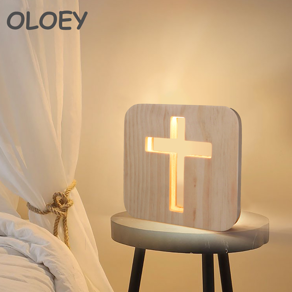 Wooden Creative LED3D Night Light Religious Cross Shadow USB Powered Desk Lamp Christian Crucifix Crafts Gift Home Decoration