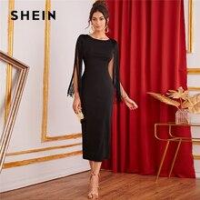 SHEIN czarna porządna Fringe Detail Split powrót ołówek Party Dress kobiety 2019 jesień bez rękawów eleganckie damskie sukienki midi typu bodycon