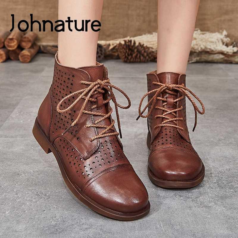 Johnature ankle boots para as mulheres de couro genuíno 2020 nova primavera sapatos femininos rendas-up dedo do pé redondo plana com zíper senhoras botas