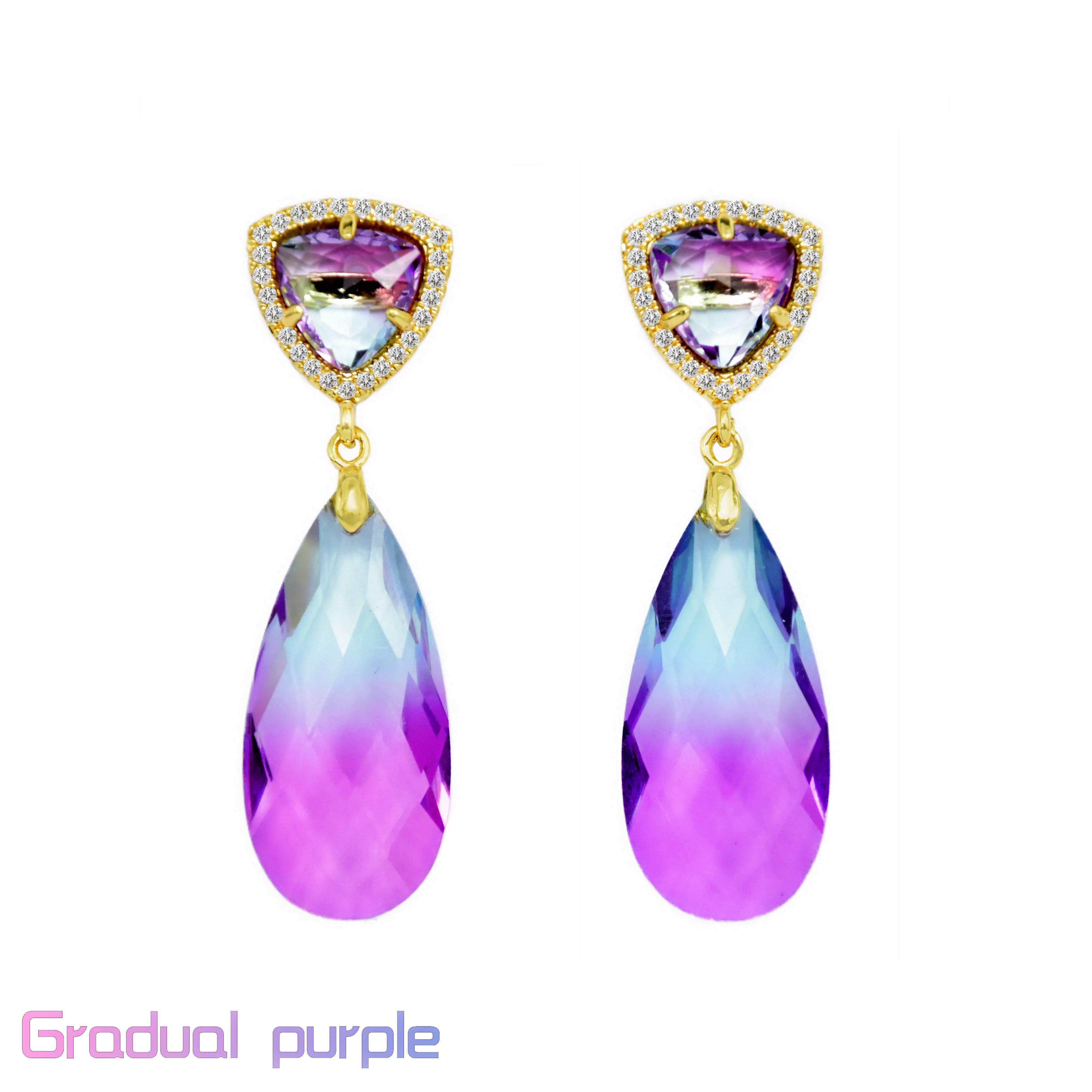Palace Retro Full Drilling mount zircon multicolour water-drop Female Earrings Glass Earrings Long Earrings Crystal Earrings