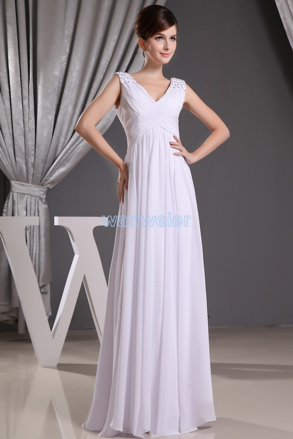 Free Shipping 2016 New Arrival V-neck Design Hot Seller Custommade Size/color White Cap Sleeve Crystal Chiffon Bridesmaid Dress
