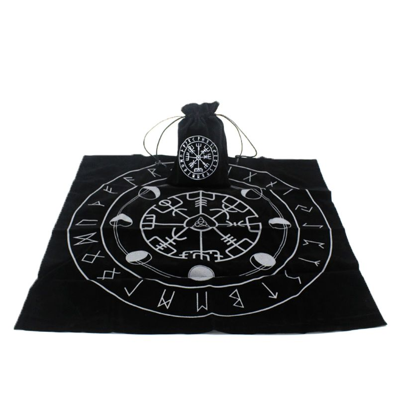 80×80cm Velvet Tarot Tablecloth Altar Wicca Sun Pentacle Embroidery Board Game