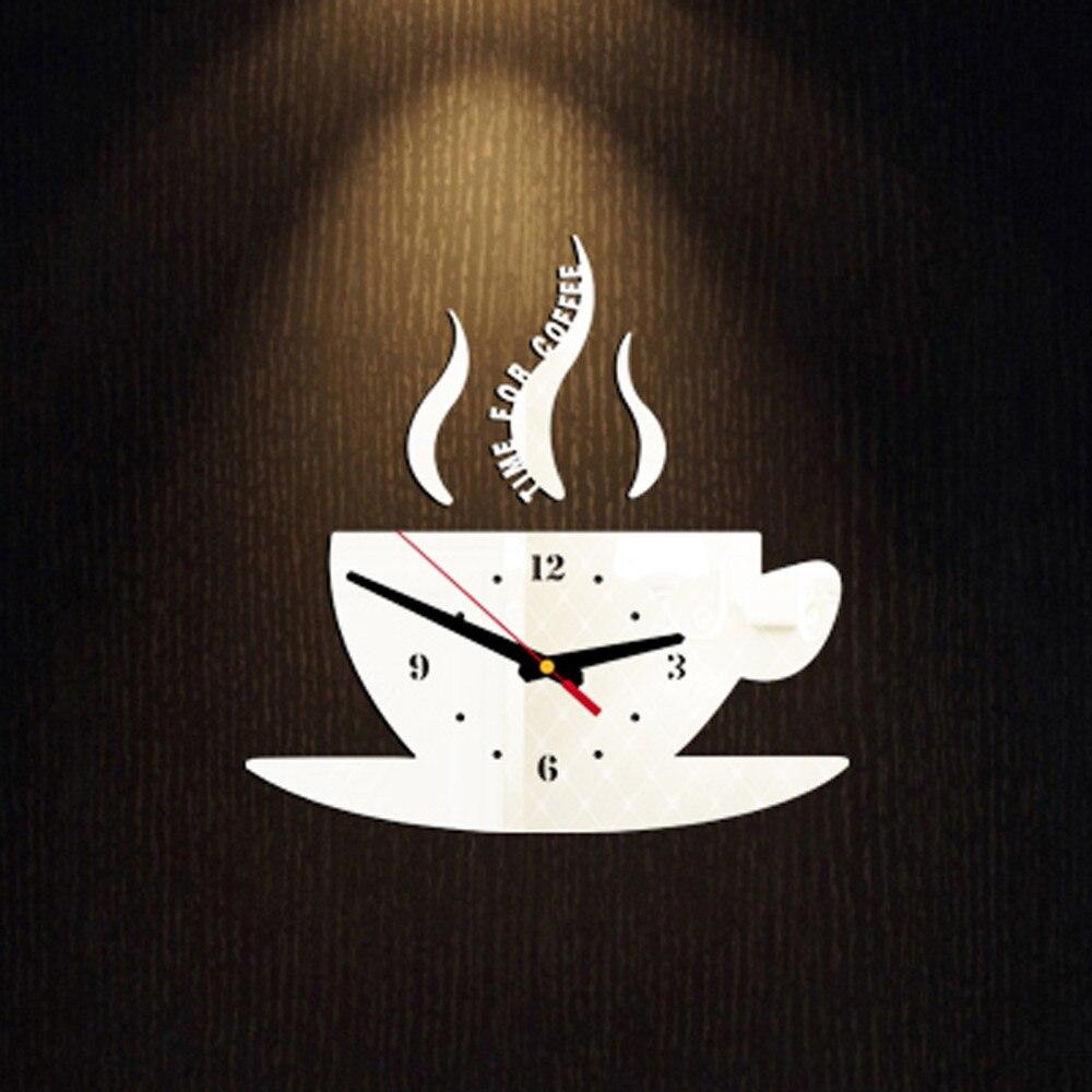 Coffee Shape Removable Diy Acrylic 3d Mirror Wall Sticker Decorative Clock Wall Clock Quartz Watch Reloj De Pared Living Room 7