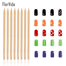 FlorVida Orange Stick Nail 100pcs for Manicure Wooden Color Cuticle Pusher Remove Art Tools