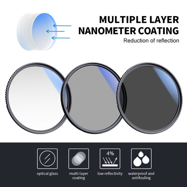 K&F Concept Filter Kit Netural Density ND4 MC UV CPL filter Camera Lens Bundle 1pcs Cleaning Pen and Filter Pouch 58mm 62mm 67mm 3