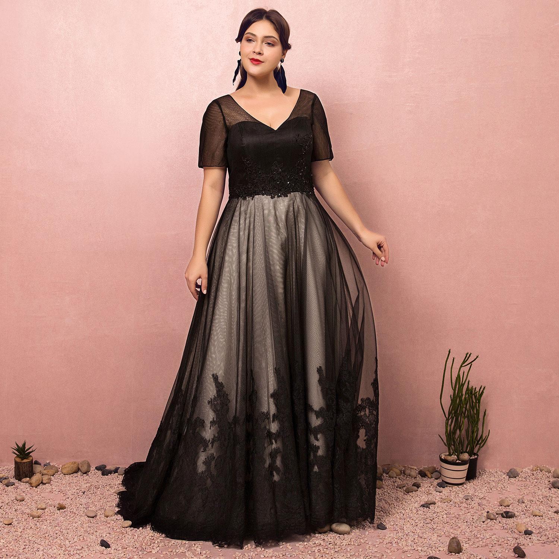 Robes de soirée robes noires robes à lacets Court Train robes de bal longueur de plancher une ligne col en v