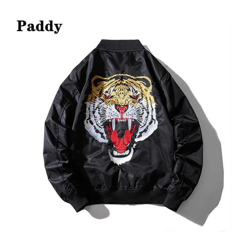 2020 tiger embroidered bomber jacket men's fall/winter fashion loose jacket men's embroidered bomber jacket
