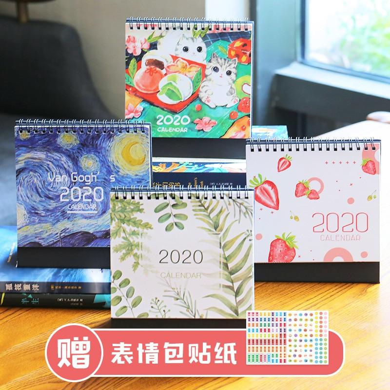 2020 Calendar Retro Van Gogh Illustrations/leaf/strawberry/Cat Kawaii Desk Calendar Organizer Schedule Planner NoteBook Escolar