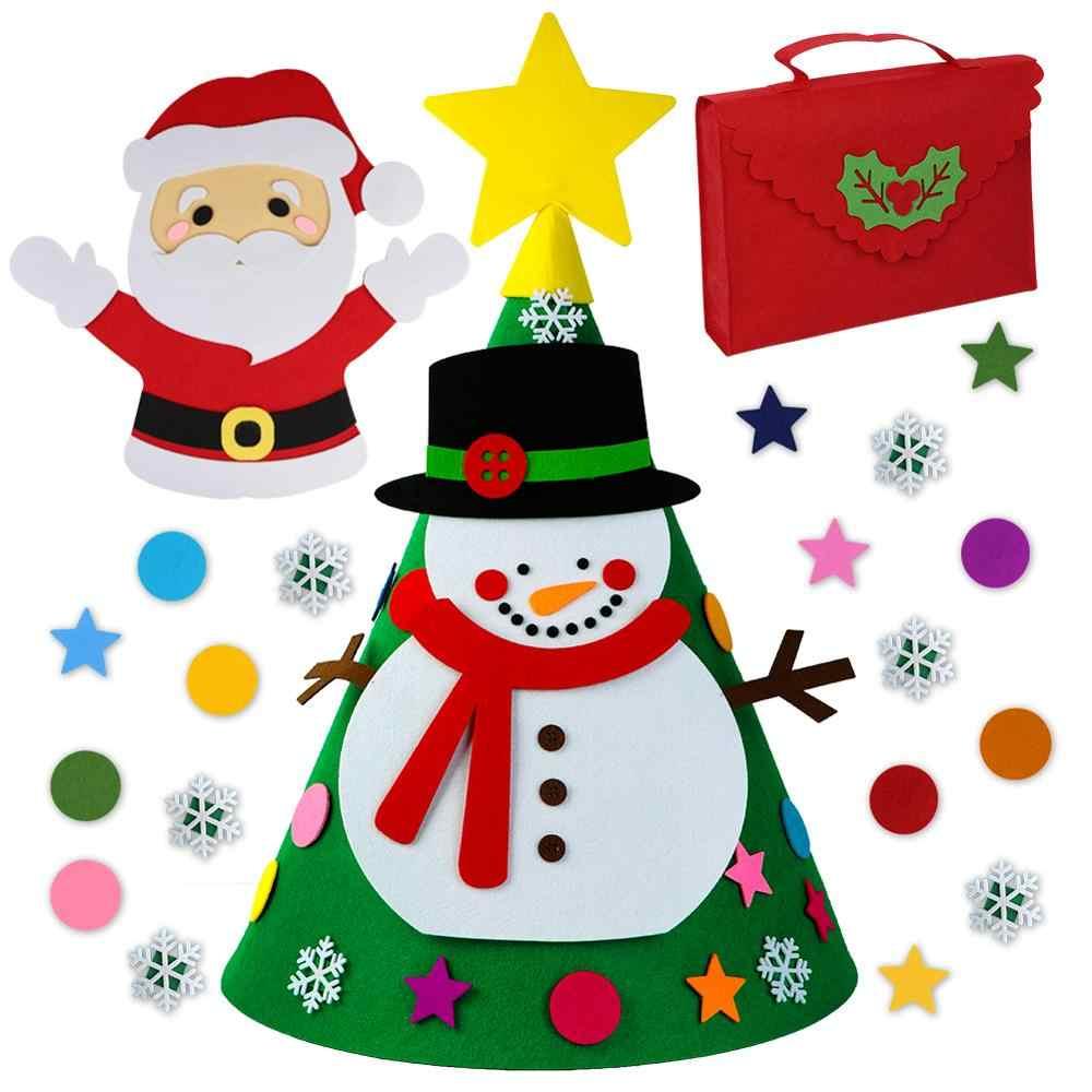 Ourwarm diy sentiu ornamentos de árvore de natal decorações de ano novo crianças brinquedos de natal da criança 3d árvore de natal pendurado pingentes navidad