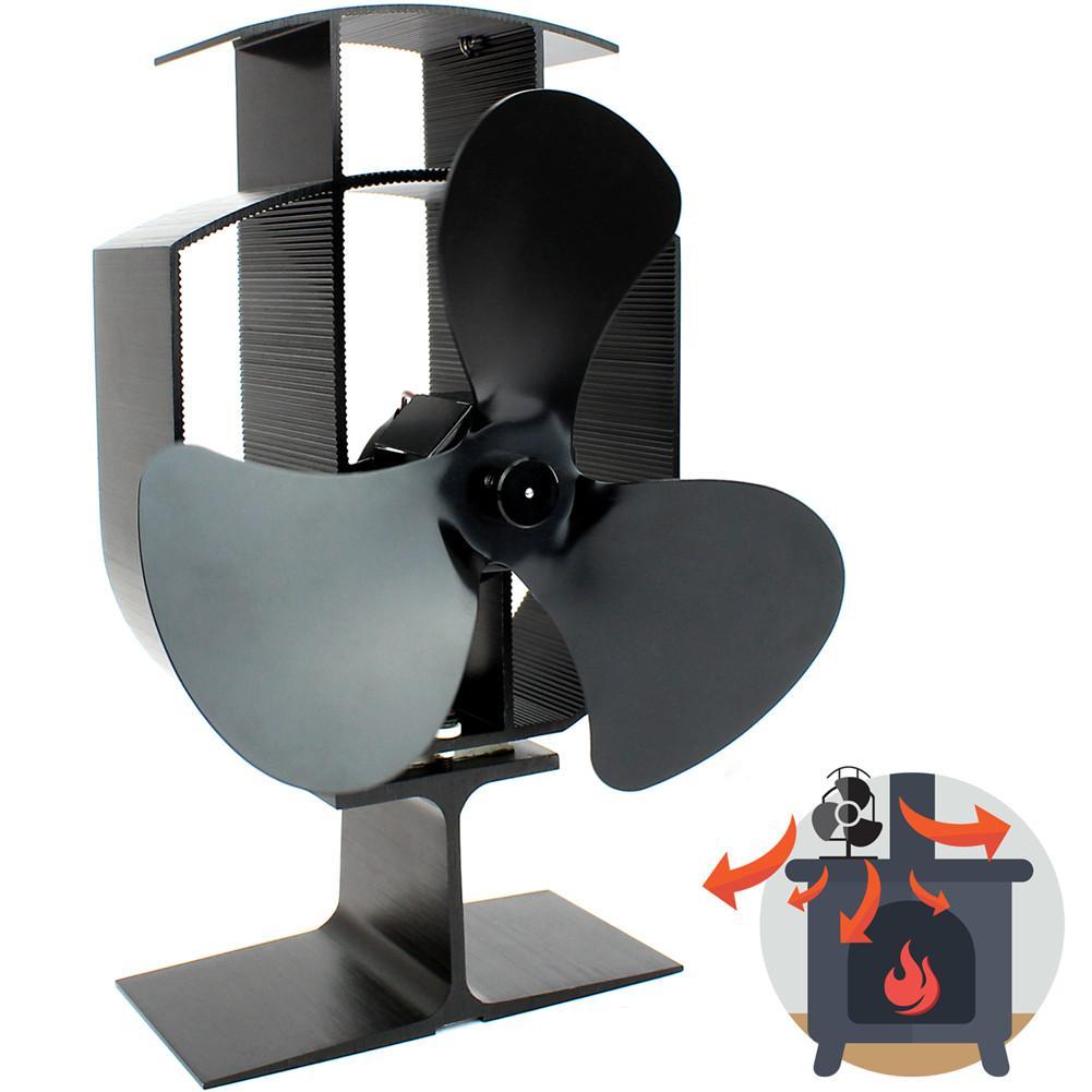 4 Blades Wood Heater Eco Fan Stove Fireplace Fire Heat Powered Circulating Fan
