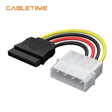 цена на Cabletime 4 Pin IDE Molex Male to 15 Pin Sata Serial ATA M to Molex IDE 4 Pin F Hard Drive Adapter Power Leads Cable N184