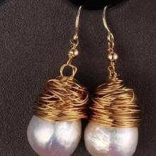 Украшение жемчужные серьги* Благородные Ювелирные изделия Белый SouthSea барокко жемчужина ручной работы серьги