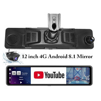 Hd Mirror Cam 12 4G Car DVR Mount Android 8.1 ADAS Rear View Mirror Camera FHD 1080P WiFi GPS Dash Cam Registrar Video Recorder