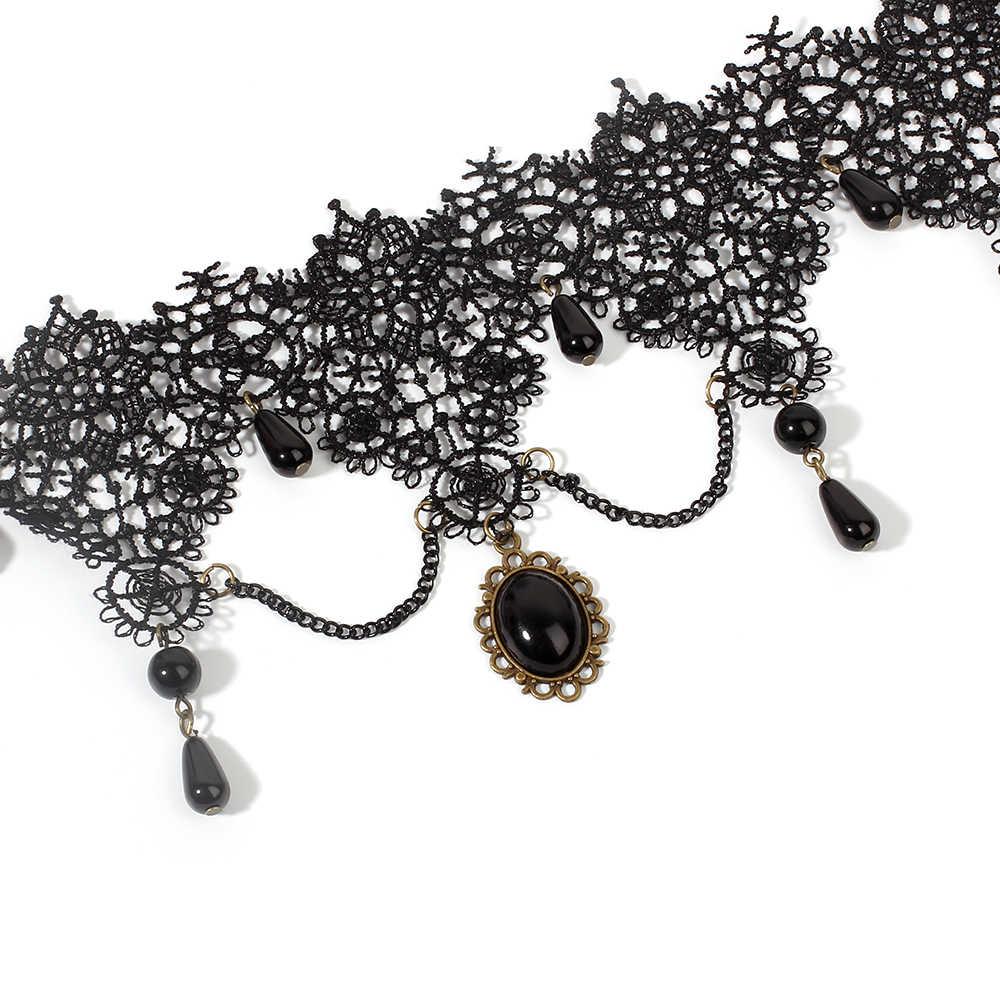 Poputton femmes Boho gothique cristal collier bijoux Vintage pendentif noir large dentelle collier ras du cou 2020