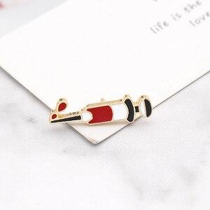 Image 3 - Moda strzykawka Pin sprzęt medyczny narzędzie broszki kreatywne emaliowane kurtki obroża szpilki torba ze znaczkami biżuteria prezenty dla lekarza pielęgniarka