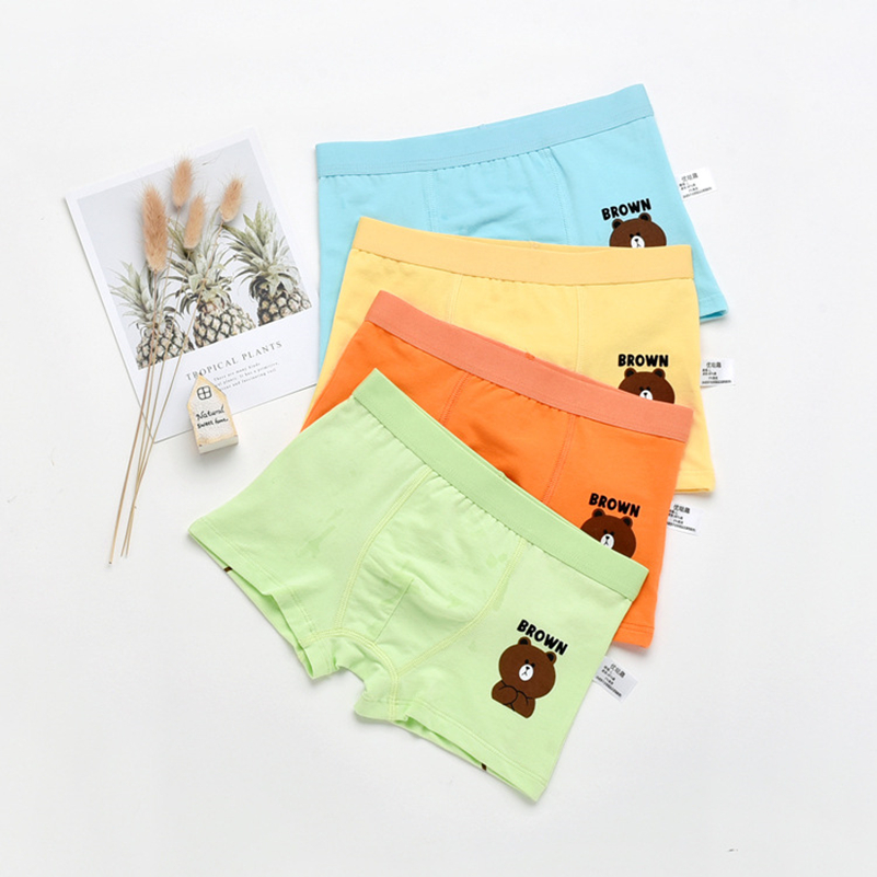 4pcs/lot  Color Boy Panties Cotton Children Breathable Underwears Boxer Panties For Boys Kids Shorts Pants