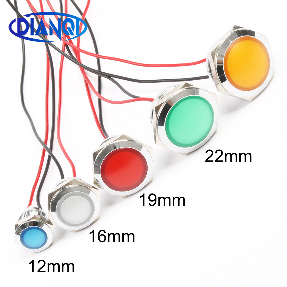 12mm 16mm 19mm 22mm Waterproof Metal Spherical Round Indicat Signal Lamp LIGHT With Wire LED Red Yellow Blue Green White
