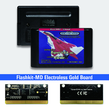 Raiden Trad   USA Label Flashkit MD Electroless Gold PCB Card for Sega Genesis Megadrive Video Game Console