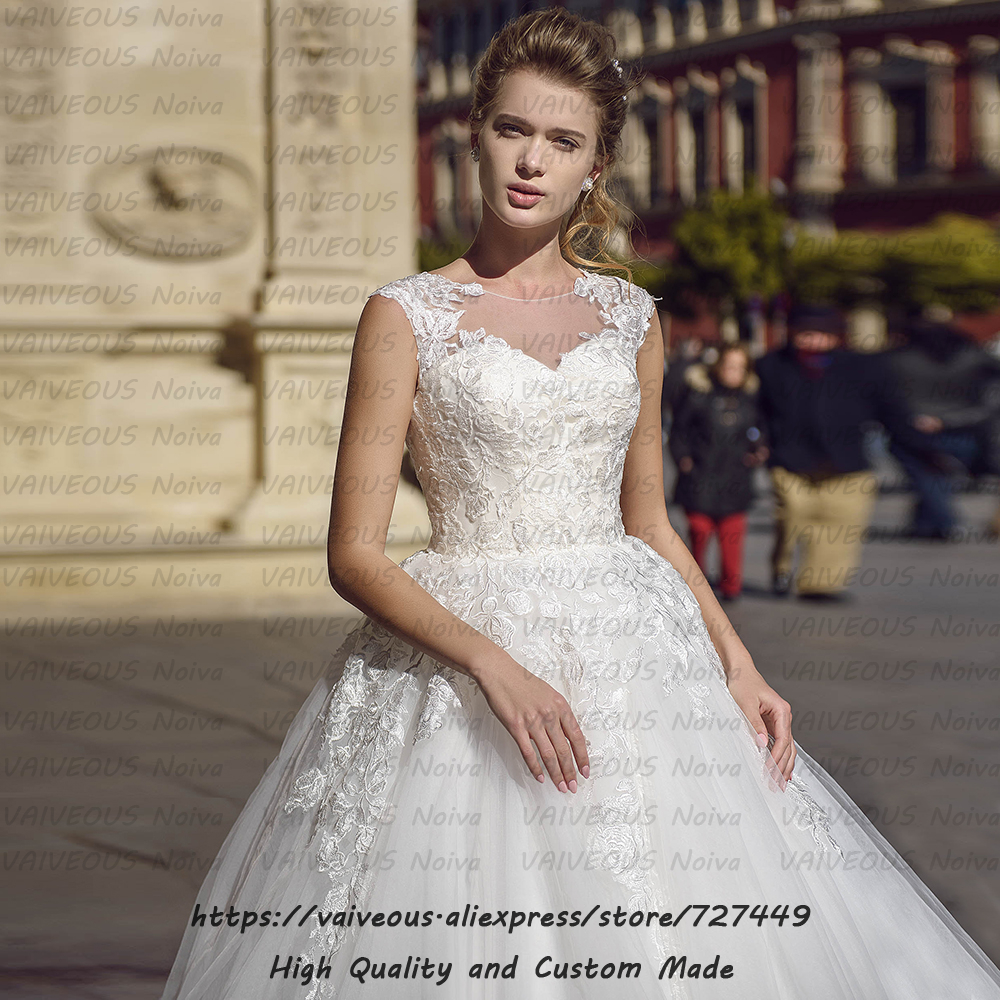 Image 3 - Vestidos de Novia New Fashion Bridal Gowns Romantic Lace Tulle A Line Wedding Dress 2020 Cheap Bridal Dresses Robe de Mariee-in Wedding Dresses from Weddings & Events