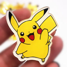 1PCS Jumping Pikachu Animal Icoon Badge Voor Kids Party Gifts Pokemon Monster Broche Acryl Pin Voor Decoratie Op Zak t-shirt(China)